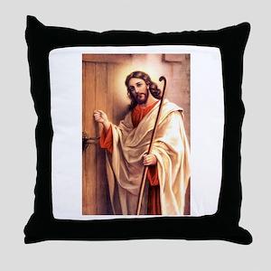 Jesus at Door Throw Pillow