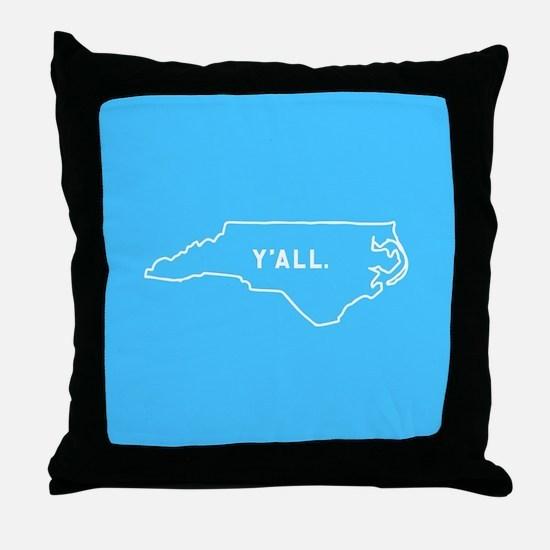 North Carolina Y'all Throw Pillow