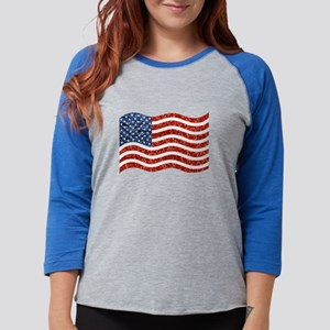 sequin american flag Womens Baseball Tee