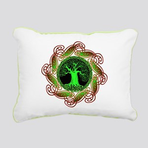 Celtic Tree Illuminated (green) Canvas Pillow
