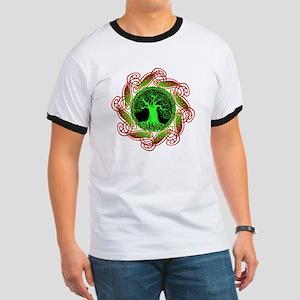 Celtic Tree Illuminated (green) Ringer T
