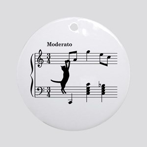 Cat Jumping to Note Ornament (Round)
