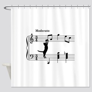 Cat Jumping to Note Shower Curtain