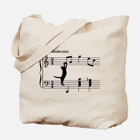 Cat Jumping to Note Tote Bag