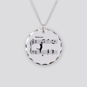 Cat Jumping to Note Necklace
