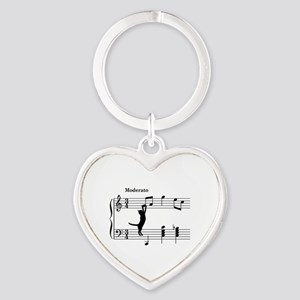 Cat Jumping to Note Heart Keychain