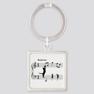 Cat Jumping to Note Square Keychain