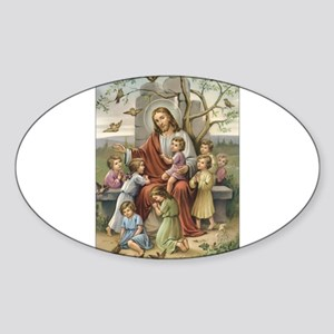 Jesus and the Children Oval Sticker