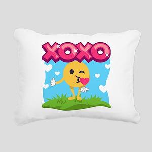 Emoji Smooches Rectangular Canvas Pillow