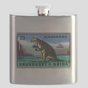 Iguanodon Dinosaur Czech Matchbox Label Flask