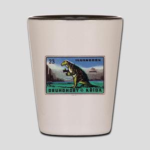 Iguanodon Dinosaur Czech Matchbox Label Shot Glass
