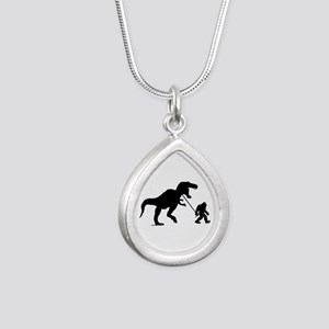Gone Squatchin with T-rex Silver Teardrop Necklace