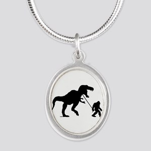 Gone Squatchin with T-rex Silver Oval Necklace