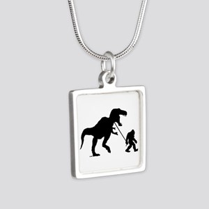 Gone Squatchin with T-rex Silver Square Necklace
