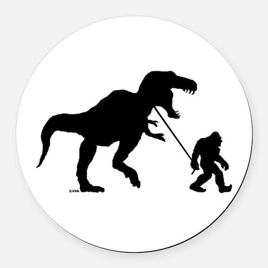 Gone Squatchin with T-rex Round Car Magnet