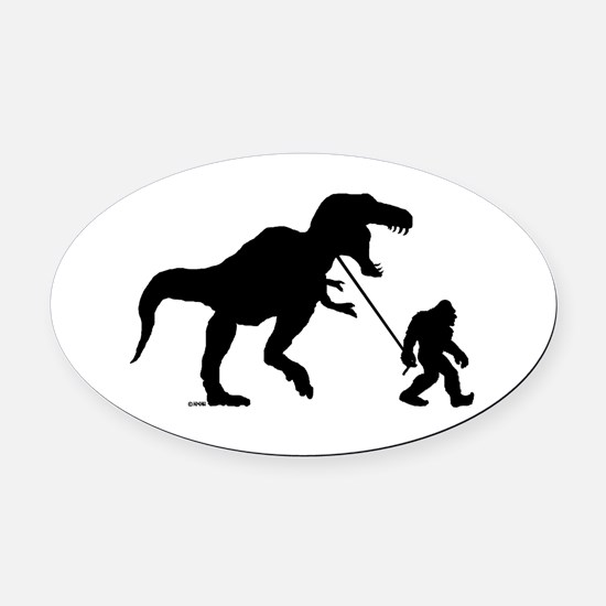 Gone Squatchin with T-rex Oval Car Magnet