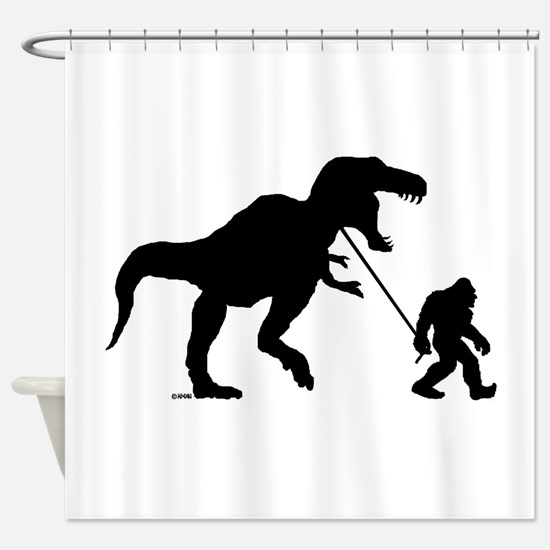 Gone Squatchin with T-rex Shower Curtain
