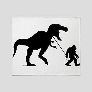 Gone Squatchin with T-rex Throw Blanket