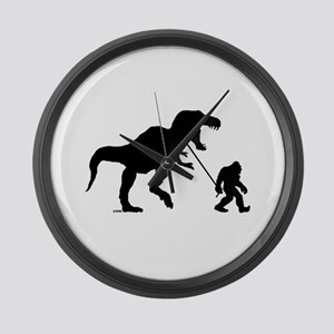 Gone Squatchin with T-rex Large Wall Clock