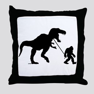 Gone Squatchin with T-rex Throw Pillow