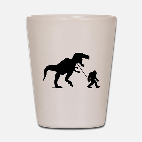 Gone Squatchin with T-rex Shot Glass