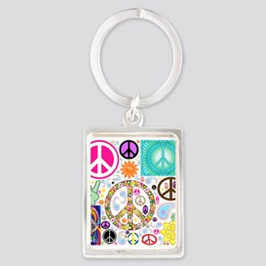 Peace Paisley Collage Portrait Keychain