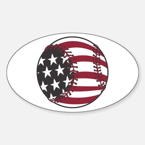 USA Stars and Stripes Baseball Oval Decal