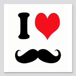 """I Heart Mustaches Square Car Magnet 3"""" x 3"""""""