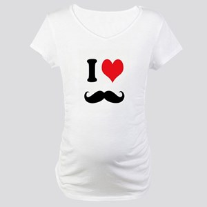 I Heart Mustaches Maternity T-Shirt