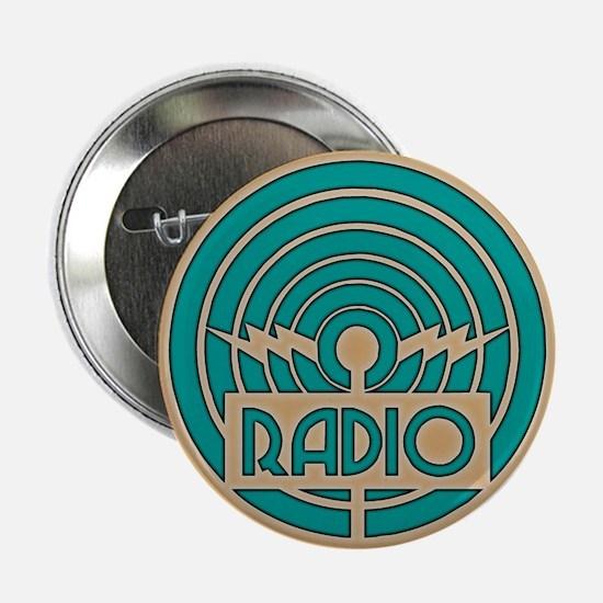"Green Art Deco Radio 2.25"" Button (10 pack)"