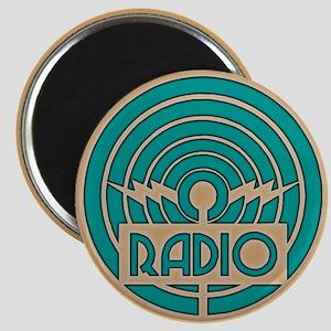 Green Art Deco Radio Magnet
