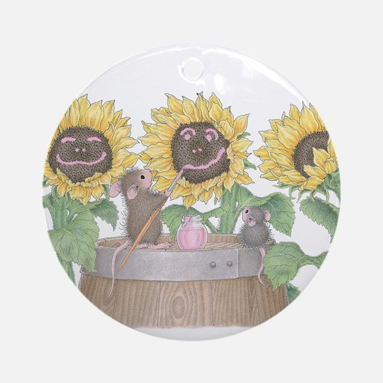 Happy Sunflowers Ornament (Round)