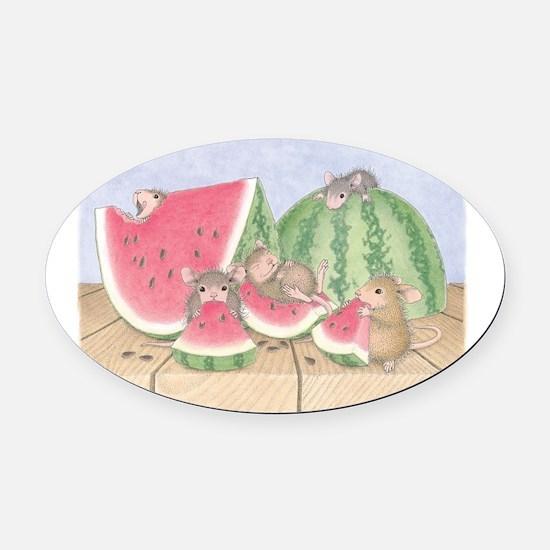 Full of Melon Oval Car Magnet