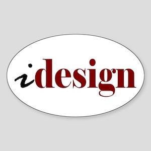 "I ""Design"" (red) Oval Sticker"
