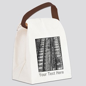 Railroad Tracks. Gray Text. Canvas Lunch Bag