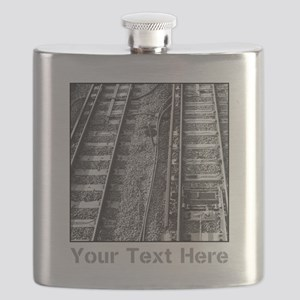Railroad Tracks. Gray Text. Flask