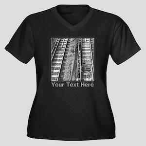 Railroad Tracks. Gray Text. Plus Size T-Shirt