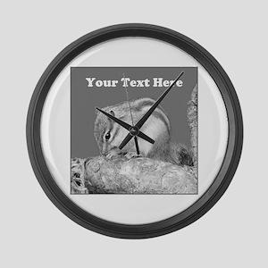 Chipmunk. Custom Text. Large Wall Clock