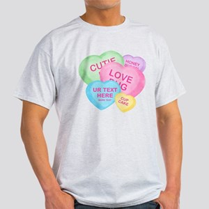 Fun Candy Hearts Personalized Light T-Shirt