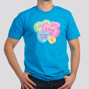 Fun Candy Hearts Personalized Men's Fitted T-Shirt