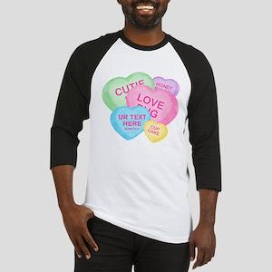 Fun Candy Hearts Personalized Baseball Jersey