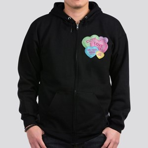 Fun Candy Hearts Personalized Zip Hoodie (dark)