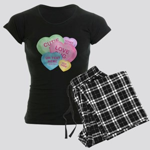 Fun Candy Hearts Personalized Women's Dark Pajamas