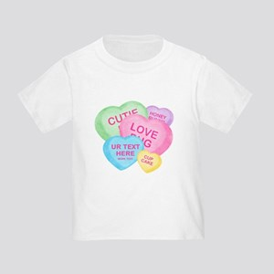 Fun Candy Hearts Personalized Toddler T-Shirt