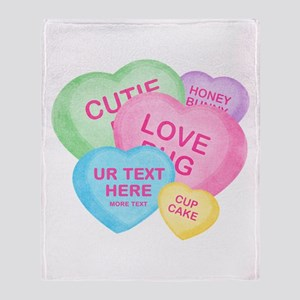 Fun Candy Hearts Personalized Throw Blanket