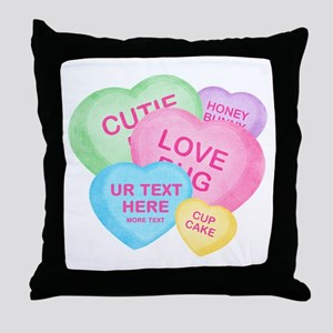 Fun Candy Hearts Personalized Throw Pillow