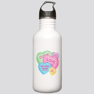 Fun Candy Hearts Personalized Stainless Water Bott