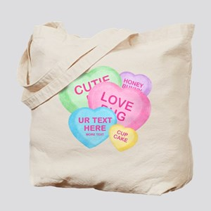Fun Candy Hearts Personalized Tote Bag