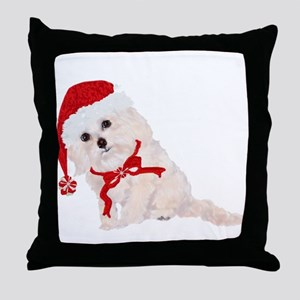 Cockapoo Christmas Bows and Red Cap Throw Pillow