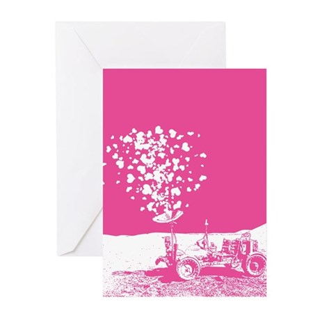 Pink Lunar Rover Of Love Greeting Cards (Pk of 10)